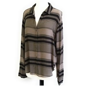 CLOTH & STONE Olive Brown Striped Blouse Shirt M